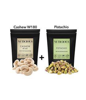 NUTICIOUS – Jumbo Cashews(Kaju) , Jumbo Pistachio(Pista) 450 gm X 2..