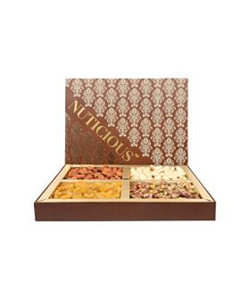 Brown Dry Fruit Gift Pack  Assorted Dry Fruits Rosted Almonds,Cashews, Raisins,Pistachios-600ge