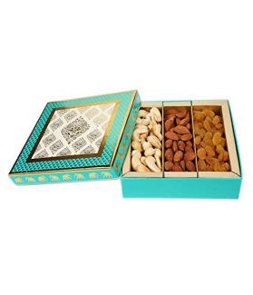 NUTICIOUS - Blue Dry Fruit Gift Box 300 ge(100 gm Cashews ,100gm Almonds ,100gm Raisins)Assorted Dry Fruits Special Diwali Gift