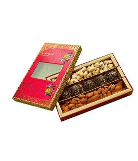 NUTICIOUS -Rajwada Gift Pack 400 gm Assorted Dry Fruits Almonds ,Cashews,with 5 Protein Laddus with Almond Butter 40g