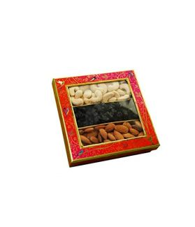 NUTICIOUS -Floral Sweet Box (Almonds 100,Cashews 100, BlueBerrries 100gm)-300gm