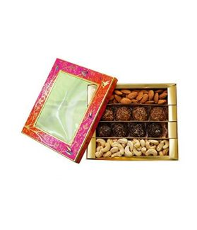 NUTICIOUS -Floral Sweet Box (Almonds 125,Cashews 125, & 30gm X 8 =240 gm Protein Laddus )-500gm