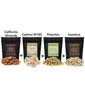 California Almonds(Badam), Jumbo Cashews W180(kaju), Pistachio Kernals(Pista) ,Hazelnuts 450 Ge X 4