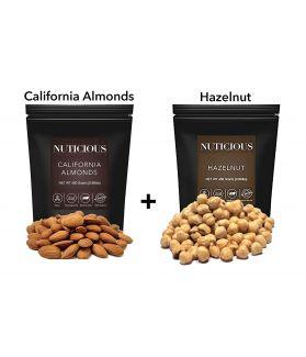ALL NATURALS California Almonds (Badam), Hazelnut, 450 gm X 2..Dry Fruit , Nuts & Berries