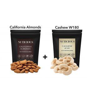 ALL NATURALS California Almonds (Badam), Jumbo Cashews(Kaju) Dry Fruit, 450 ge. X 2Dry Fruit , Nuts & Berries