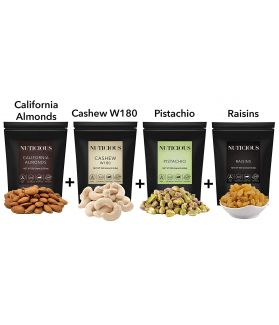 ALL NATURALS Dry Fruits Combo Pack of 1KG(California Almond, Jumbo Cashew, Pistachio Kernals ,Raisins 250 gm X 4 )Dryfruits & Nuts