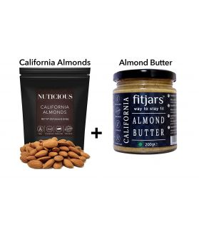All Natural California Almonds 250 gm + Vegan All Natural Stone Ground Califronia Almond Butter Bread Spreads 200gm,Dry Fruit , Nuts & Berries