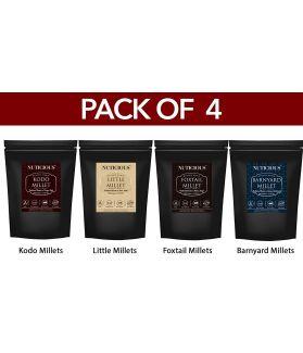 ALL NATURALS  Millets Combo (Kodo Millet, Little Millet, Foxtail Millet, Barnyard Millet) - 500 Ge X 4 (Pack of 4)