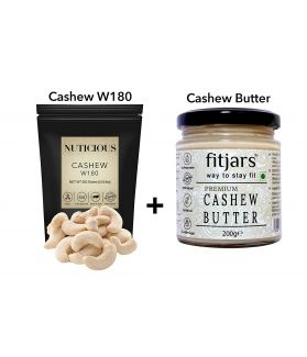 FITJARS - All Natural Jumbo Cashews 250 ge All Natural Vegan Stone Ground Premium Cashew Butter Bread Spreads 200 ge