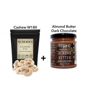 FITJARS - All Natural Jumbo Cashews 250 ge + Vegan All Natural Stone Ground Almond Butter Darkchoclate Bread Spreads 200 ge