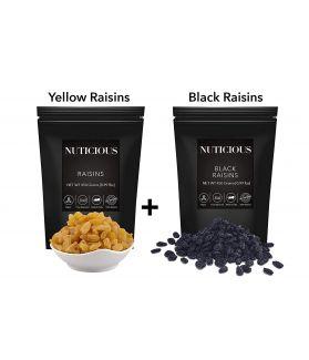 ALL NATURA;S Yellow Raisins(Raisins), Black Raisins(Raisins), Dry Fruit 450 gmX 2..Dry Fruit , Nuts & Berries