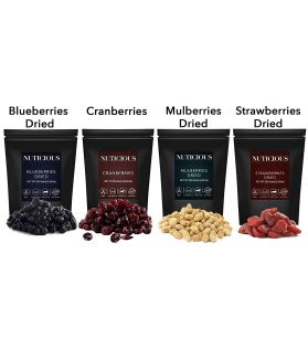 ALL NATURALS Blueberries, Strawberries, Mulberries, Cranberries, 250 gm X 4..