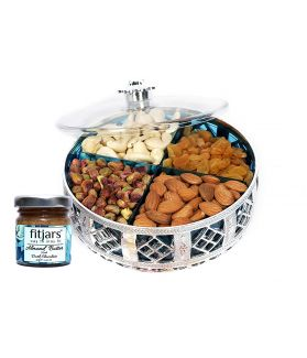 Assorted Dry Fruit Blue Cap Silver Gift Box 500 gm, with Almond Butter 30 Gm, Special Gift for Freinds/Relatives
