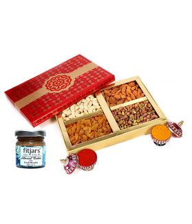 Assorted Dry Fruit Gift Box (100 X 4 =400 gm ) with Almond Butter 30 Gm
