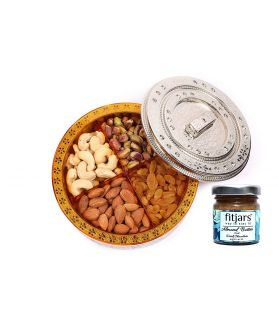 ASSORTED Dry Fruits Round Gift Box-200 Gm with Almond Butter 40 Ge