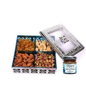 ASSORTED Dry Fruit Silver Box with Almond Dark Chocolate -240 Ge