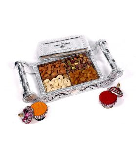 Assorted Dry Fruit Cradle Silver Gift Box-200 ge with Almond Butter 40 Ge (Special Gift for Freinds/Relatives)