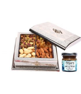 Assorted Dry Fruits Square Gift Box-160 ge with Almond Butter 40 Ge