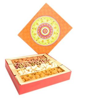 Orange Dry Fruit Gift Pack 1000 G Assorted Dry Fruits Almond,Cashew, Raisins,Pistachio Kernals